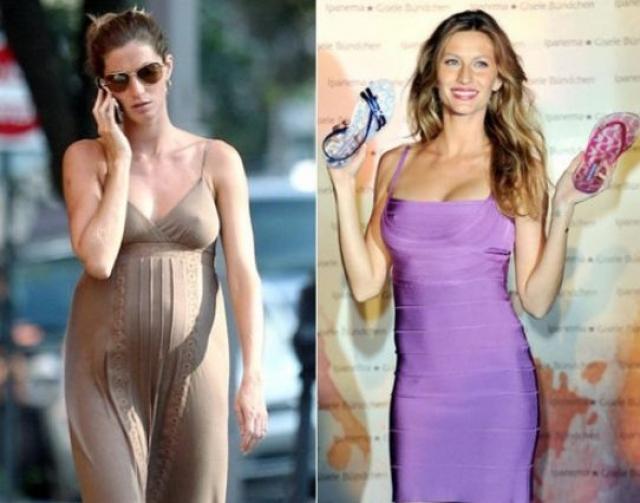 Жизель Бюндхен. Многие женщины не смогли бы влезть в такое узкое, обтягивающее платье Herve Leger в повседневной жизни, а модель позировала в таком через четыре месяца после родов!