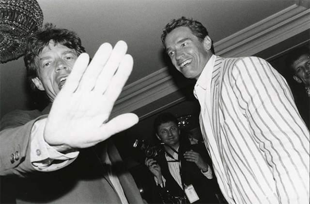 Арни и Мик Джаггер, 1990 год.