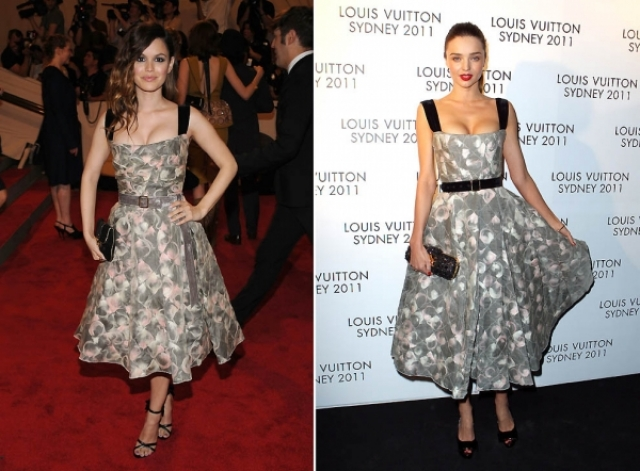 Рейчел Билсон и Миранда Керр в идентичных платьях.