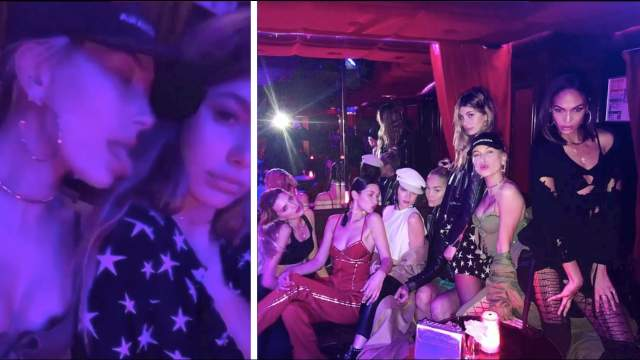 Модели Кендалл Дженнер, Хейли Болдуин и Белла Хадид в парижском стрип-клубе.
