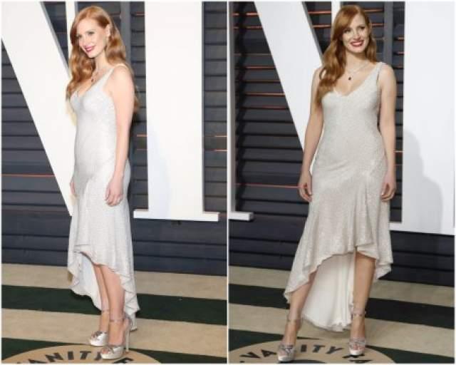 Джессика Честейн на вечеринку Vanity Fair надела бюджетное платье от H&M.