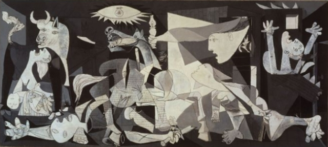 При этом в иных ситуациях он проявлял большое человеколюбие. В апреле 1937 года немецкая и итальянская авиация бомбила и разрушила небольшой городок басков Герни́кa. За два месяца Пикассо создал громадное полотно, посвященное этому ужасному событию.
