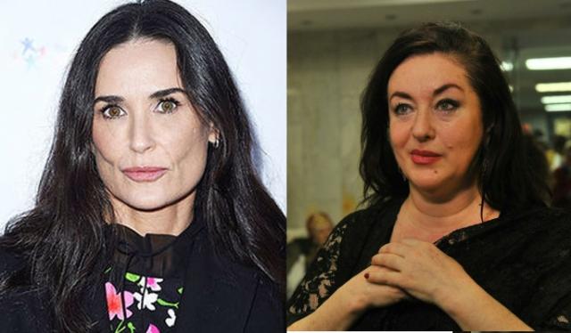 Деми Мур и Тамара Гвердцители (55 лет). Наглядное сравнение естественного старения и бегства от него.