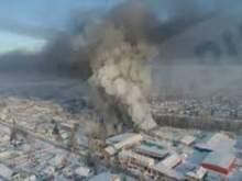 Появилось видео крупного пожара в Новосибирской области, снятое с беспилотника
