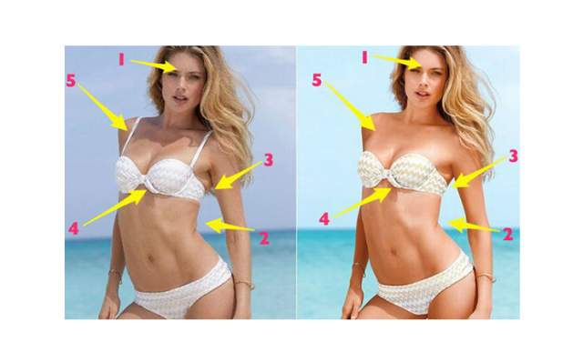 """Также модели, пусть даже очень стройные, имеют некоторые """"запасы"""" на теле, образующие складки. Их тоже убирают в фотошопе. Как и морщины."""