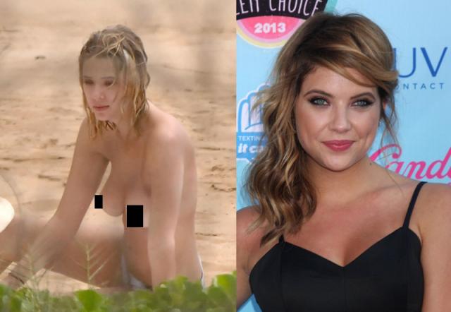 Эшли Бенсон никогда не оголялась на экране, зато в 2015 ее застали топлес на пляже в Гавайях.