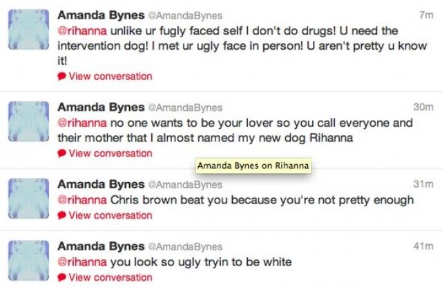 """Аманда Байнс. В 2013 году когда-то популярная телеведущая и актриса, изрядно потрепанная вредными привычками, написала в Twitter, обращаясь к Рианне, что та """"выглядит ужасно, стараясь походить на белую""""."""
