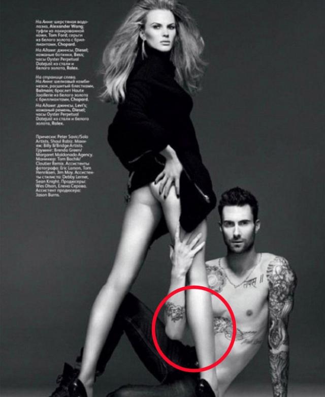 А вот Адама Левайна российское издание Vogue лишило части торса.