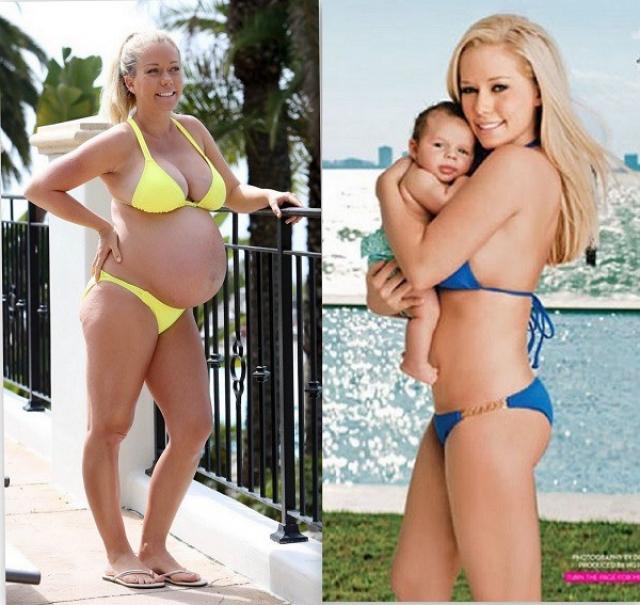 Кендра Уилкинсон. Модель и актриса через несколько недель после родов уже смогла надеть раздельный купальник.