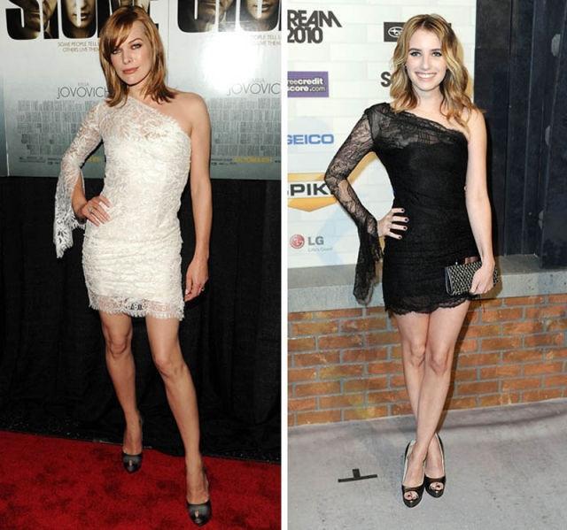 Милла Йовович и Эмма Робертс выбрали одинаковые платья, но разного цвета.