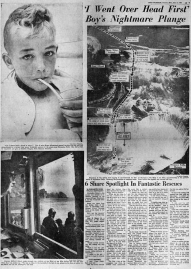 Впрочем, были в истории преодоления водопада и чудесные спасения. 9 июля 1960 года произошло событие, впоследствии названное «Ниагарским Чудом». Семилетний американский мальчик Роджер Вудвард случайно был унесен потоком воды и попал в водопад «Подкова», имея на себе только спасательный жилет, и остался жив и невредим, а его 17-летнюю сестру успели вытащить спасательным кругом в 6 метрах от обрыва на Козьем острове.