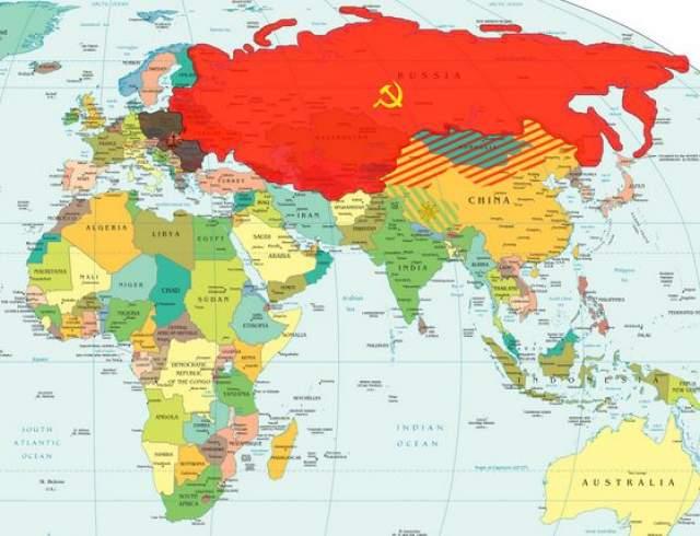 СССР был самой большой страной на планете и занимал территорию площадью 22 400 000 квадратных километров. Подобные размеры можно сравнить лишь с размерами всей Северной Америки, включая территории США, Канады и Мексики.