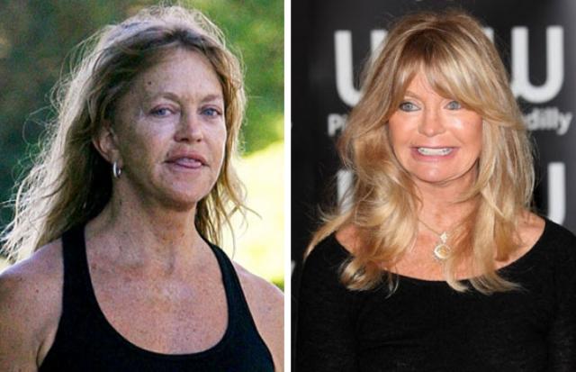 Голди Хоун. Годы берут свое, и без макияжа это еще более заметно.