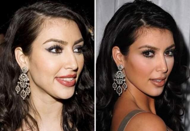 Ким Кардашьян, 38 лет. Звезда американского шоу о ее семействе утверждает, что всего лишь научилась делать правильный макияж и никогда не прибегала к помощи хирургов для наведения красоты.