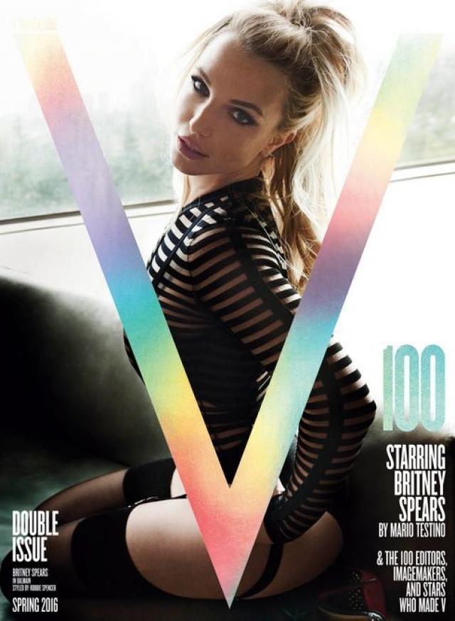 Весной 2016 года Бритни стала героиней обложки журнала V Magazine (выпуск 100-го номера журнала). И, как утверждает главный редактор издания, сомнений у редакции, кто должен стать героиней юбилейной обложки, не было.