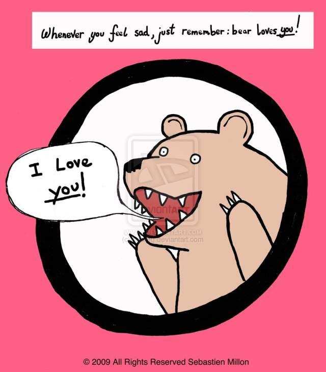 Медведь в кустах . Забавный медведь оказался весьма уместным изображением во многих ситуациях. Был размещен впервые на сайте Deviantart в 2009 году. Изначально он кричал о любви.