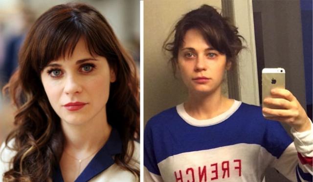 Зоуи Дешанель. Актриса сама выложила в сеть селфи без макияжа.
