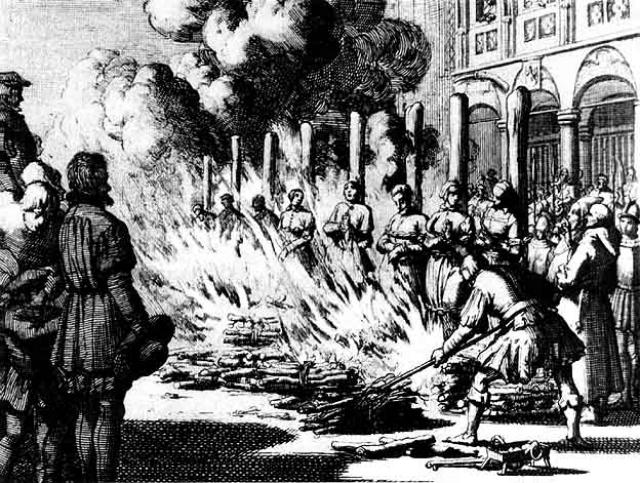 Сожжение на костре. Любимый метод Святой инквизиции для умерщвления ведьм и еретиков: огонь был призван очищать и спасать душу грешника.
