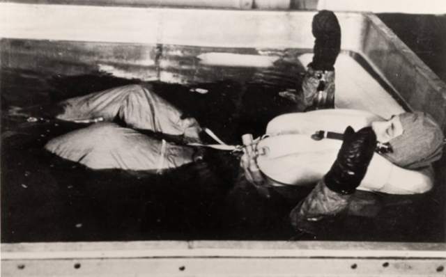 Чтобы узнать, что быстрее всего согревает замерзшего человека, провели два опыта: замерзшего клали между двумя обнаженными женщинами из числа узниц лагеря или опускали в ванну с горячей водой. Второй способ был признан более действенным.