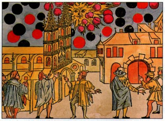"""На этой картине изображены темные сферы, появившиеся в небе над швейцарским городом Базелем 7 августа 1566 года. Согласно """"Анналам Базеля"""", почти половина города видела, как черные шары двигались на огромной скорости, сталкивались друг с другом, делали неожиданные резкие движения или неподвижно зависали над землей."""