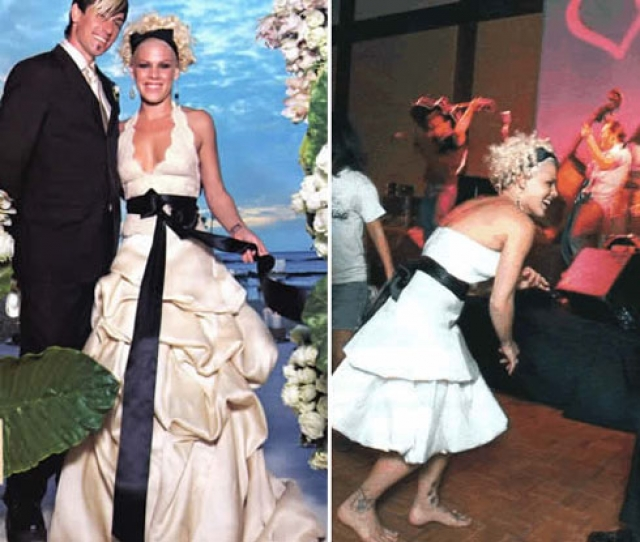 Пинк. Возможно, у платья певицы был бы шанс, не дополни она его атласной черной лентой.