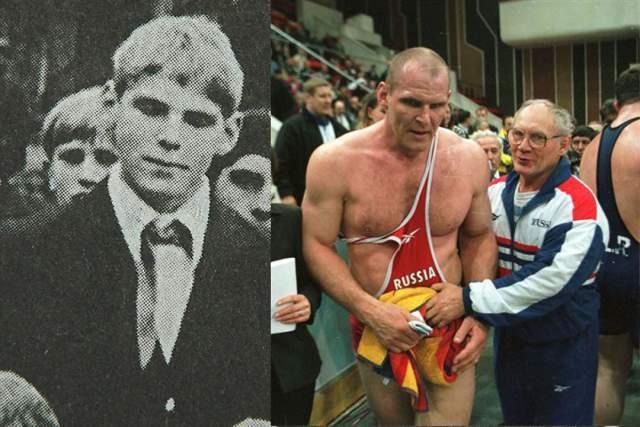 Александр Карелин. В 13 лет рост будущего борца составлял 178 см, а вес 78 кг и он записался в секцию классической борьбы при электротехническом институте, а его первый тренер так и остался единственным наставником на всю жизнь.