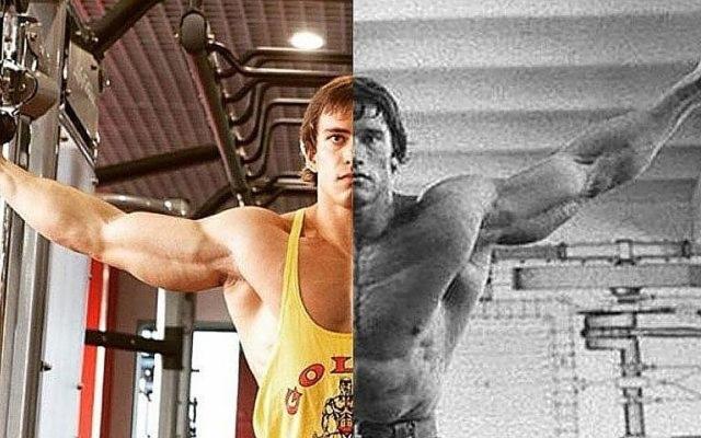 В своем микроблоге Антон даже выкладывает свои фото, совмещенные со снимками австрийского кумира в молодости.