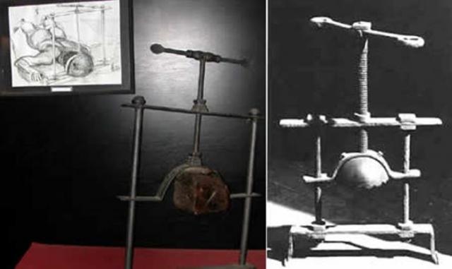 Головодробилка. Подбородок жертвы фиксировался на нижней планке, а на верх головы одевалась металлическая шапочка. С помощью винта палач сдавливал голову.