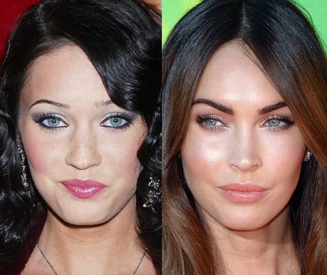 """Меган Фокс, 32 года. В 2007 году актриса и модель сделала ринопластику по устранению горбинки носа. Сам же он сохранил природную форму, но в 2009 актрисе """"отточили"""" кончик – сузили его, добавили симметричности и устранили раздвоение хряща."""