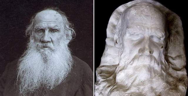 """""""Первое, что привлекло мое внимание: полуоткрытый правый глаз и густая, сердито поднятая бровь. Суровое, нахмуренное лицо..."""" - рассказывал все тот же скульптор о работе над маской Льва Толстого ."""