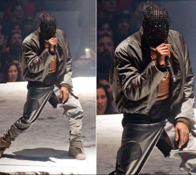 Канье Уэст. А вот брюки рэпера просто-напросто лопнули прямо во время выступления.