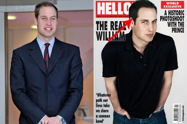 Принц Уильям предстал на обложке Hello с неожиданно темными волосами, причем их количество явно увеличено.