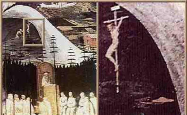 La Tebaide - фреска Паоло Уччелло, написанная около 1350 года. На увеличенном фрагменте справа виден красный НЛО в форме тарелки, находящийся вблизи Иисуса.