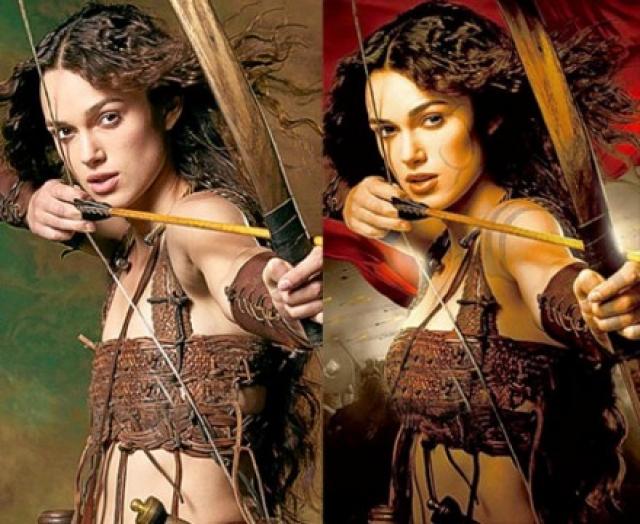 """Кире Найтли дизайнеры постера к фильму """"Король Артур"""" подарили новую грудь."""