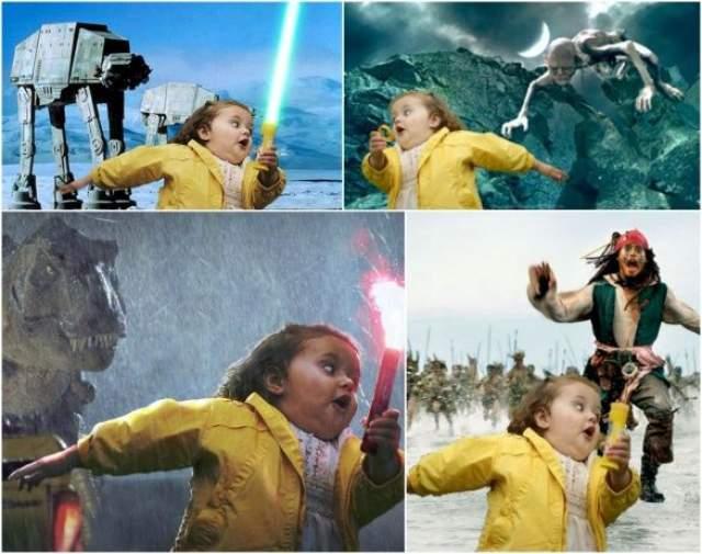 Смешная девочка в желтом плащике стала героиней интернет-пространства уже в 2009 году. С тех пор от кого только она ни убегала - и от медведей, и от бомбежки, и от динозавров.
