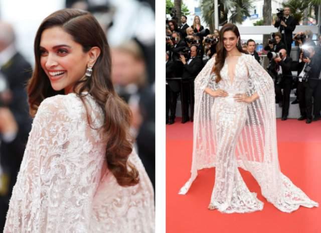 Платье Zuhair Murad было дополнено длинной накидкой со шлейфом в восточном стиле, чем окончательно сразило публику. Волосы Дипики стилисты уложили крупными локонами в самых правильных традициях золотой эпохи Голливуда.
