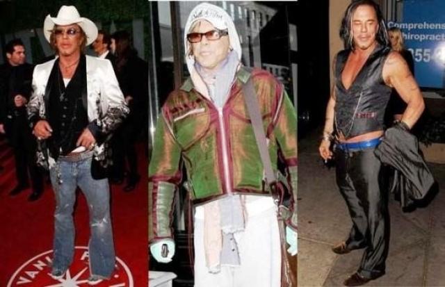 Микки Рурк стал выбирать эпатажные наряды с тех пор, как его лицо изменила пластическая хирургия.