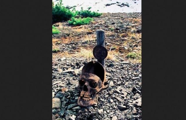 """Сейчас в неглубоких могилах находятся черепа, верхняя часть свода которых ровно и аккуратно срезана: именно в те годы, когда """"процветал"""" """"Бутугычаг"""", усиленно изучалось действие радиации на организм человека."""