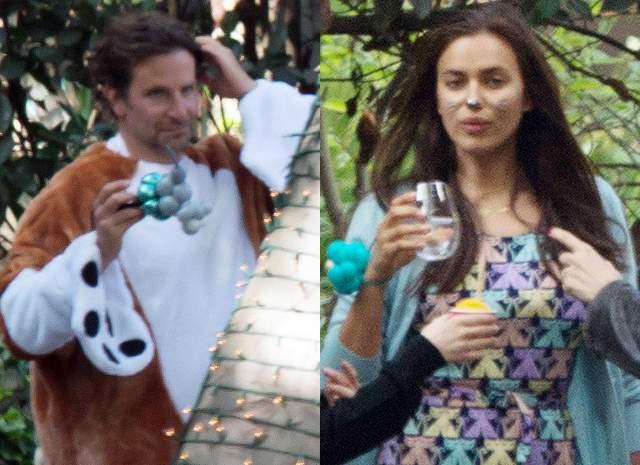 К первому дню рождения Леи Ирина и Брэдли подготовились основательно: актер нарядился в костюм огромного рыжего пса, Ирина нарисовала на лице усы и нос кошки.