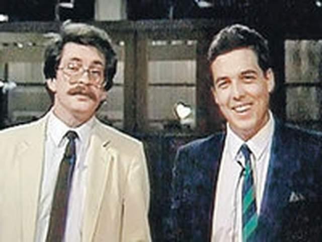 """Александр Любимов ( справа ) (1987—1991, 1994—2001). Один из создателей независимой телекомпании """"ВИD"""" в 1995 году, после смерти Листьева, стал ее генеральным директором, а в 2014-м и президентом."""