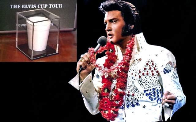 Стакан с водой Элвиса Пресли. Его продали в 2004 году на интернет-аукционе. В стакане было всего три ложки воды, но зато тех, которые не успел допить сам Элвис Пресли во время одного из своих последних концертов в 1977 году.