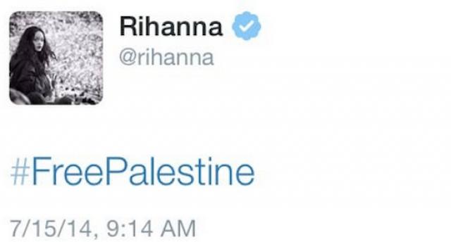 Рианна стала центром твит-скандала в июле 2014 года в разгар палестино-израильского конфликта, твитнув фразу #FreePalestine.