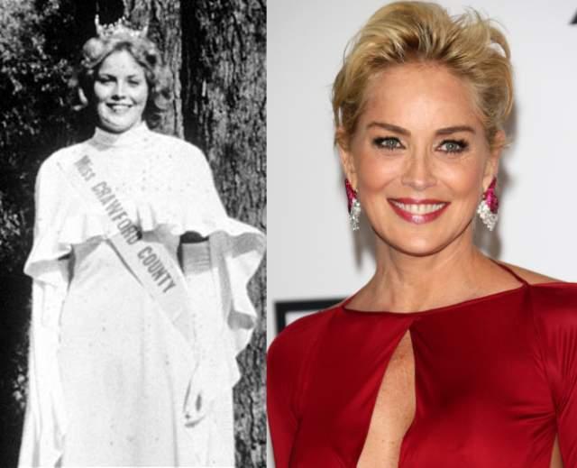 """Шэрон Стоун. В 1975 году будущая звезда победила в конкурсе """"Мисс Пенсильвания"""". Тогда обладательница степени бакалавра химических наук решила для себя, что точно не желает посвящать жизнь колбам и реагентам, и начала стремиться в Голливуд."""