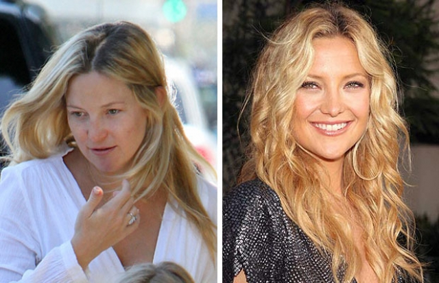 "Кейт Хадсон. Без макияжа актриса больше похожа на маму Голди Хоун, нежели ""при параде"". И выглядит как-то добрее."