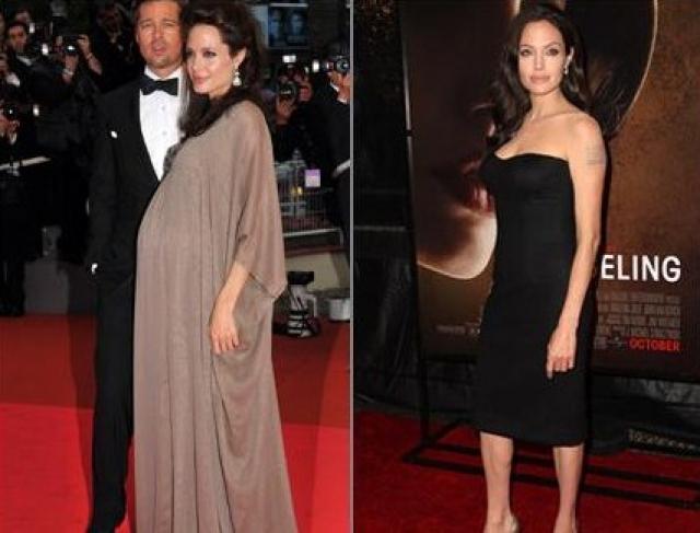 Анджелина Джоли. На Каннском кинофестивале в мае 2008 года актриса позировала еще с огромным животом, а уже в конце года.