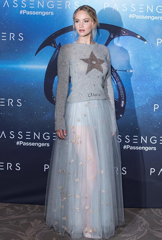 Дженнифер Лоуренс в 2016 году появилась на премьере фильма в сомнительном комплекте из прозрачной юбки и застиранного свитера.