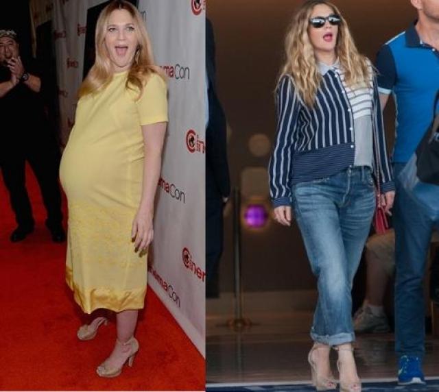 Дрю Бэрримор. 22 апреля 2014 года актриса родила вторую дочь, а через три недели уже появилась на пресс-конференции, посвященной своему новому фильму в Лос-Анджелесе.
