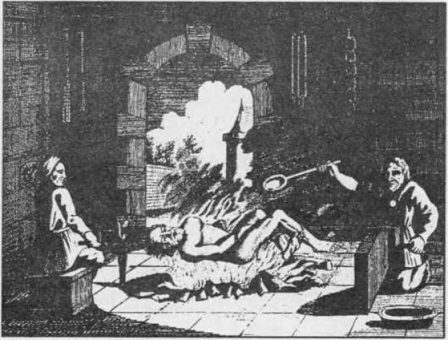Поджаривание жертвы на горячих углях.