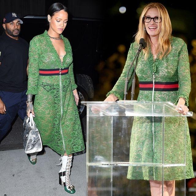 Рианна и Джулия Робертс выбрали одинаковые прозрачные платья зеленого цвета.