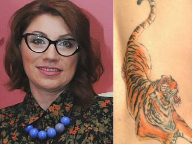 """Кроме этого у телесвахи есть и татуированный тигр: """"Это тату внушает мне определенные качества. Я же Тигр по гороскопу""""."""